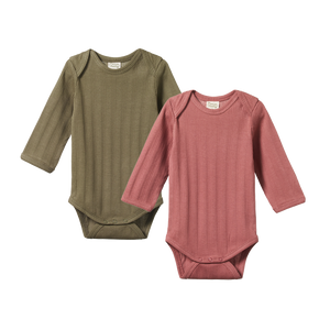 Nature Baby - 2 Pack Derby L/S Bodysuits - Woodland Rose/Cypress