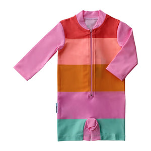 Mini Sandcrabs - L/S Sunsuit - OffBeat Rainbow