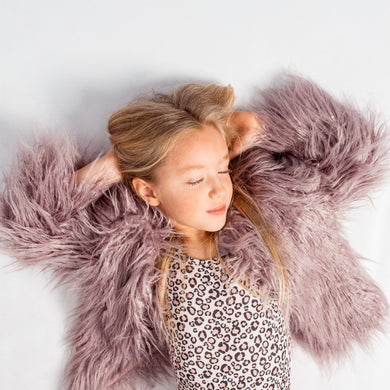 Little Hearts Co - Faux Fur Shaggy Jacket - Lilac