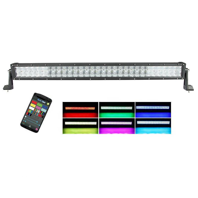 "Auxbeam 32"" Color Changing/RGB Combo Straight LED Light Bar 180w (5d Projector Lens) - Hellfire Offroad Lighting"