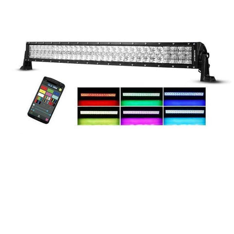 "Image of Auxbeam 42"" Color Changing/RGB Combo Curved LED Light Bar 240w (5d Projector Lens) - Hellfire Offroad Lighting"