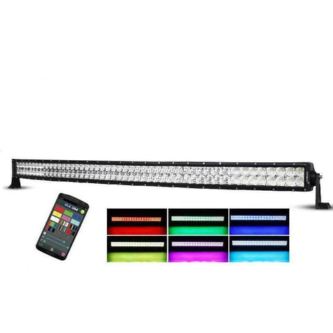 "Auxbeam 52"" Color Changing/RGB Combo Curved LED Light Bar 300w (5d Projector Lens) - Hellfire Offroad Lighting"