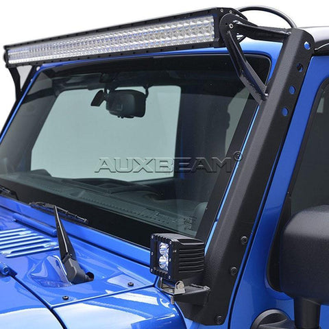"(2PCS/SET) 52"" LED LIGHT BAR UPPER WINDSHIELD MOUNTING BRACKETS FOR 2007 ~ 2017 JEEP WRANGLER JK - Hellfire Offroad Lighting"