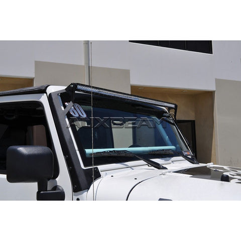 "Image of (2PCS/SET) 52"" STRAIGHT LIGHT BAR WINDSHIELD MOUNTING BRACKETS 97-06 JEEP WRANGLER TJ - Hellfire Offroad Lighting"