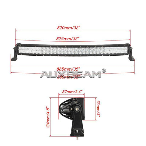 "Auxbeam 32"" 180w CREE Curved Combo Beam LED Light Bar (5d Projector Lens) - Hellfire Offroad Lighting"