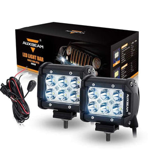 "Auxbeam 4"" 18w CREE Spot Beam Dual Row Off Road Led Work Light Bar (2pcs/Set) - Hellfire Offroad Lighting"