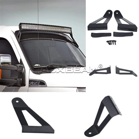 "Image of (2PCS/SET) 52"" CURVED LIGHT BAR UPPER WINDSHIELD MOUNTS FOR 04-14 FORD F-150 - Hellfire Offroad Lighting"