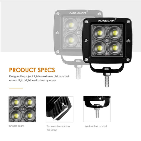 (2pcs/set) 3 Inch 20W 4D Hyperspot LED Pod Lights