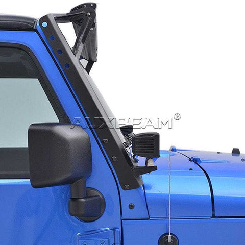 "Image of (2PCS/SET) 54"" LED LIGHT BAR UPPER WINDSHIELD MOUNTING BRACKETS FOR 2007~2017 JEEP WRANGLER JK - Hellfire Offroad Lighting"