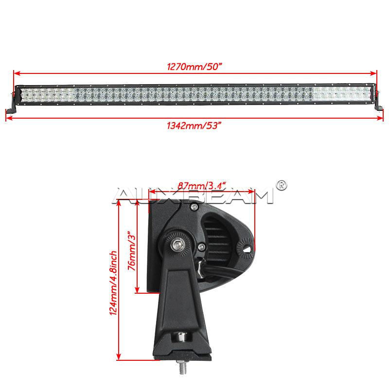 "Auxbeam 52"" 300w Cree Straight Combo LED Light Bar (5d Projector Lens) - Hellfire Offroad Lighting"