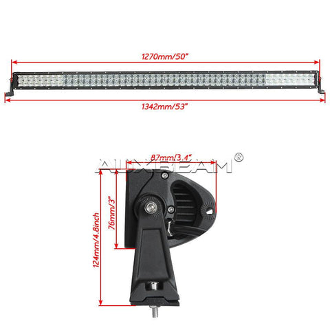"Auxbeam 50"" 288w CREE Straight Combo LED Light Bar (5d Projector Lens) - Hellfire Offroad Lighting"