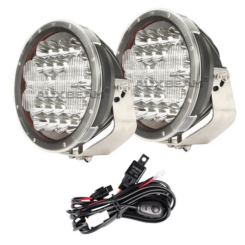 "Image of Auxbeam  9"" 150w CREE Round Spot Beam Off Road LED Driving Light (Spot & Flood Mask) PAIR - Hellfire Offroad Lighting"