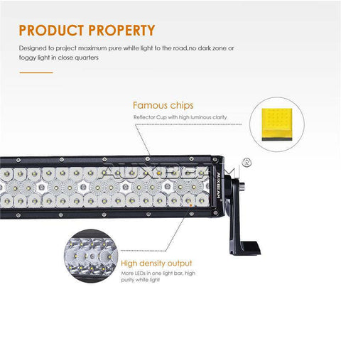 "Auxbeam Honeycomb Series 22"" 80w Curved Combo Beam Triple-Row LED Light Bar - Hellfire Offroad Lighting"