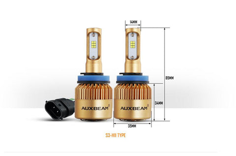 H11/H9/H8 S3 Series LED light Bulbs - 6500K 8000LM