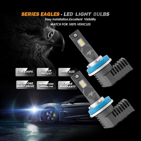 H11/H9/H8 Eagle Series LED light Bulbs - 5000LM / 6500K