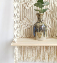 Load image into Gallery viewer, Bohemian Wooden Handmade Macrame Wall Hanging Rope Shelf