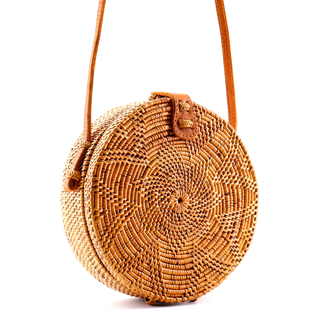 Round Straw Rattan Bag (Natural)