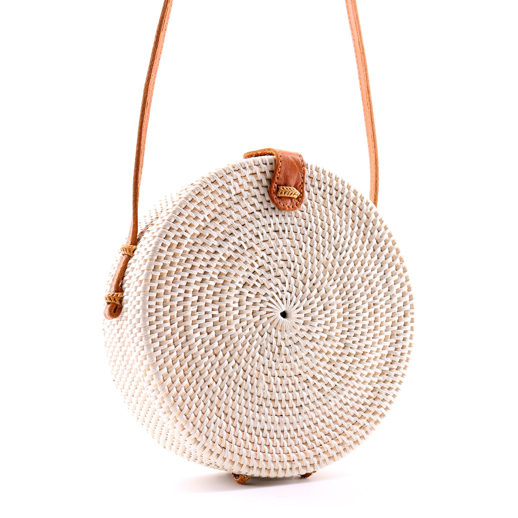 Round Straw Rattan Bag (White)