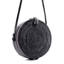 Load image into Gallery viewer, Round Straw Rattan Bag (Black)