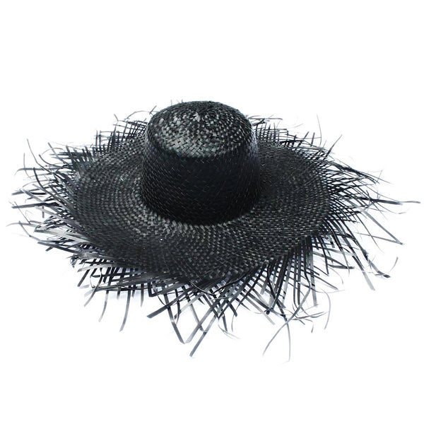Straw Rattan Fringe Hat (Black)