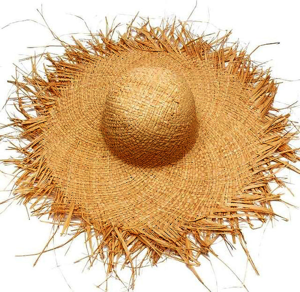 Straw Rattan Fringe Hat (Dark Tan)