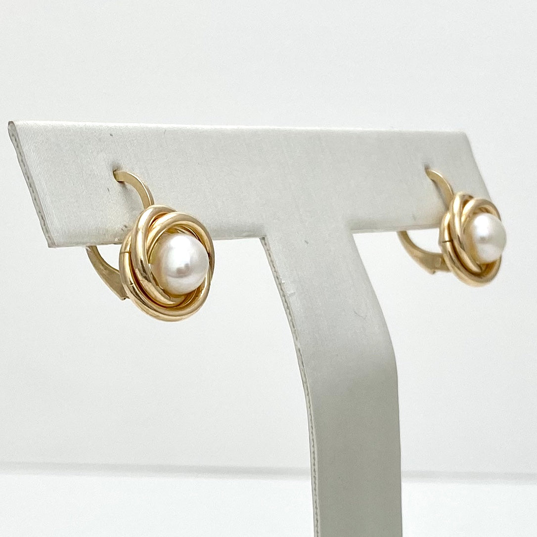 10K Yellow Gold Cultured Pearl Earrings with a Gold Twist Design