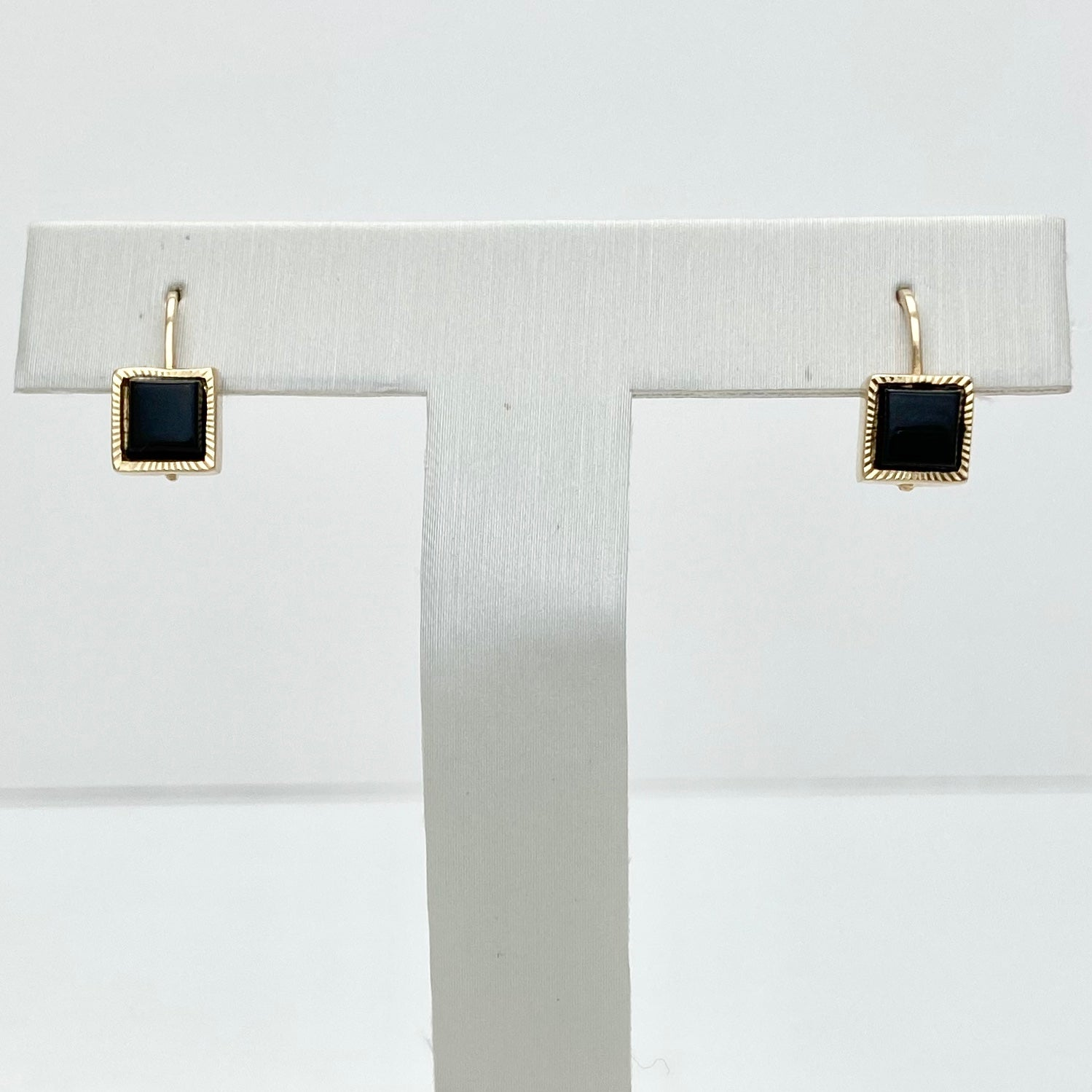 10K Yellow Gold Set of Onyx Earrings