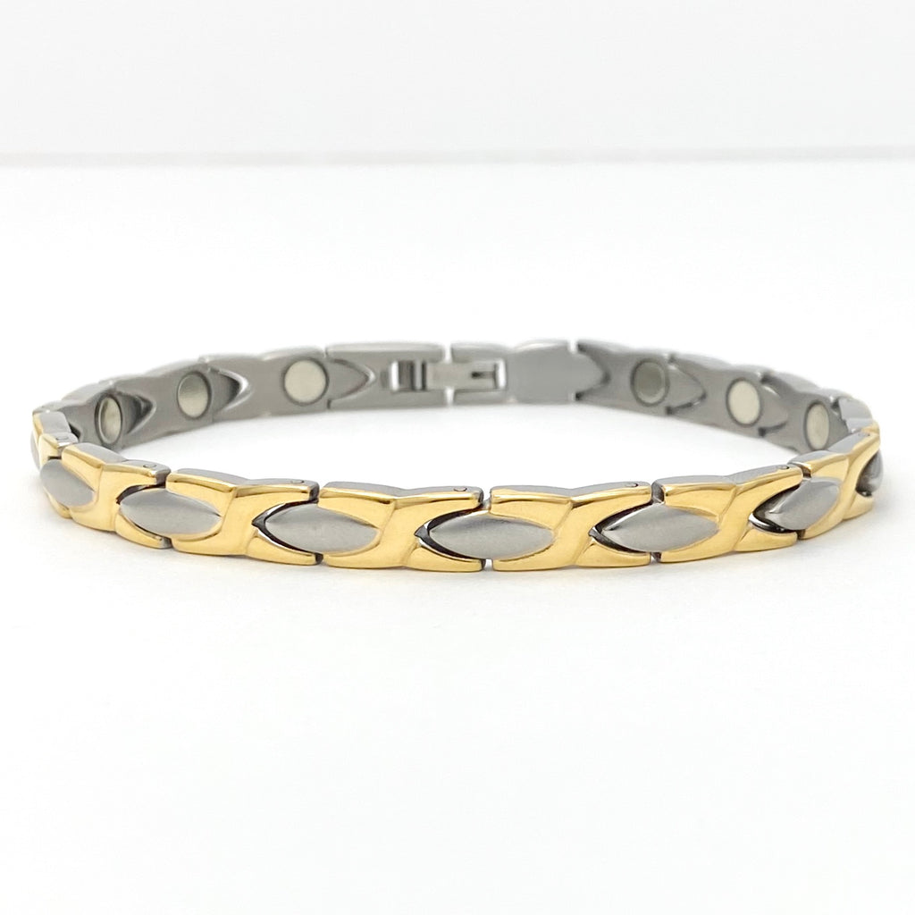 Men's Titanium with Gold Plated Details, Magnetic Therapy Bracelet