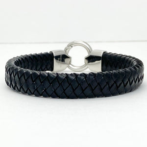 Men's Black Leather Braided Bracelet with Circle Clasp