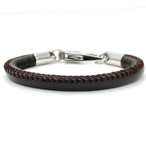 Men's Brown Leather Bracelet with Clip Closure
