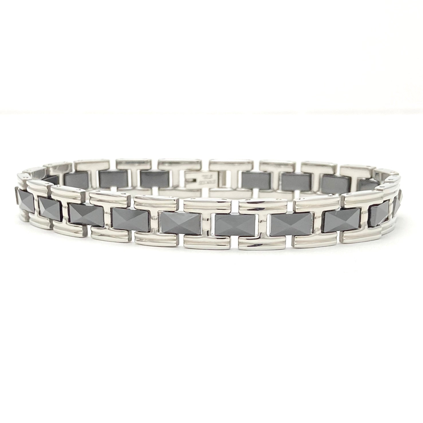 Mens Silver with Grey Stainless Steel Link Bracelet