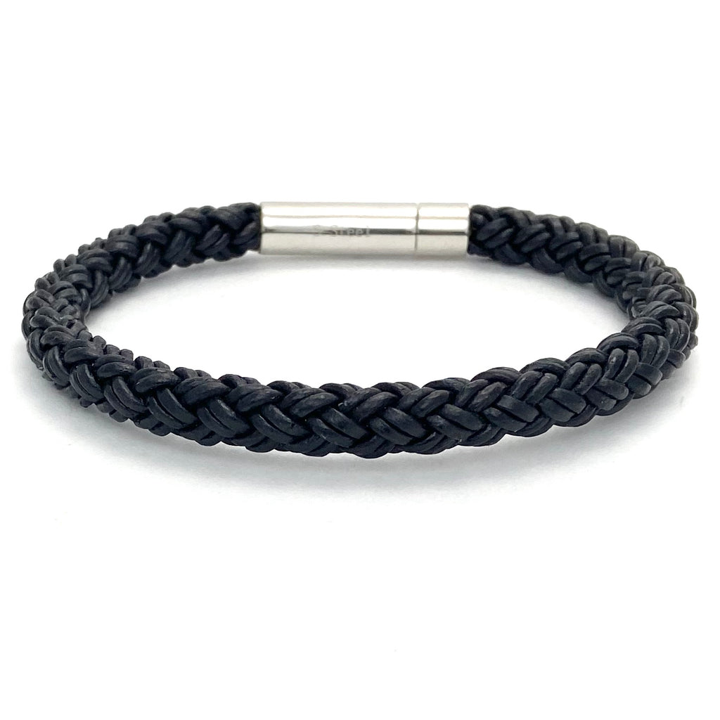 Mens Black Leather Braided Bracelet