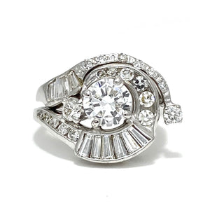 14K White Gold Vintage Engagement Ring with an 18K White Gold Wedding Band