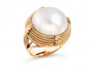 14K Yellow Gold Ring with a Mabe Pearl