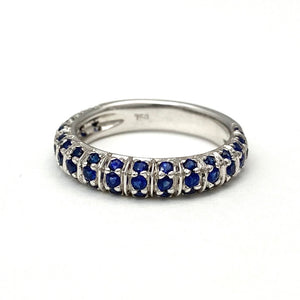 18K White Gold Natural Sapphires Band Ring