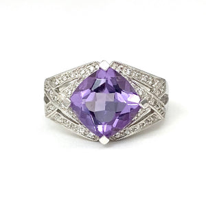 14K White Gold Lozenge Set Natural Amethyst Ring with Diamonds