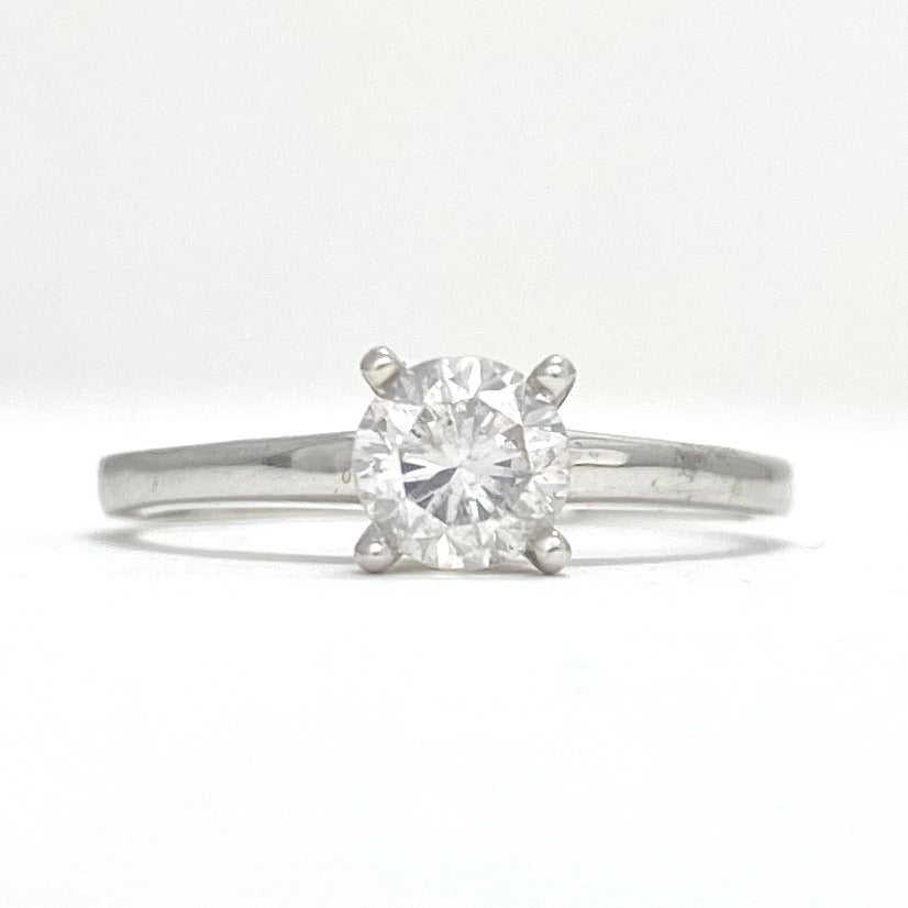14K White Gold Canadian Made Diamond Solitaire Engagement Ring
