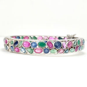 Silver natural Rubies, Sapphires and Emeralds bracelet