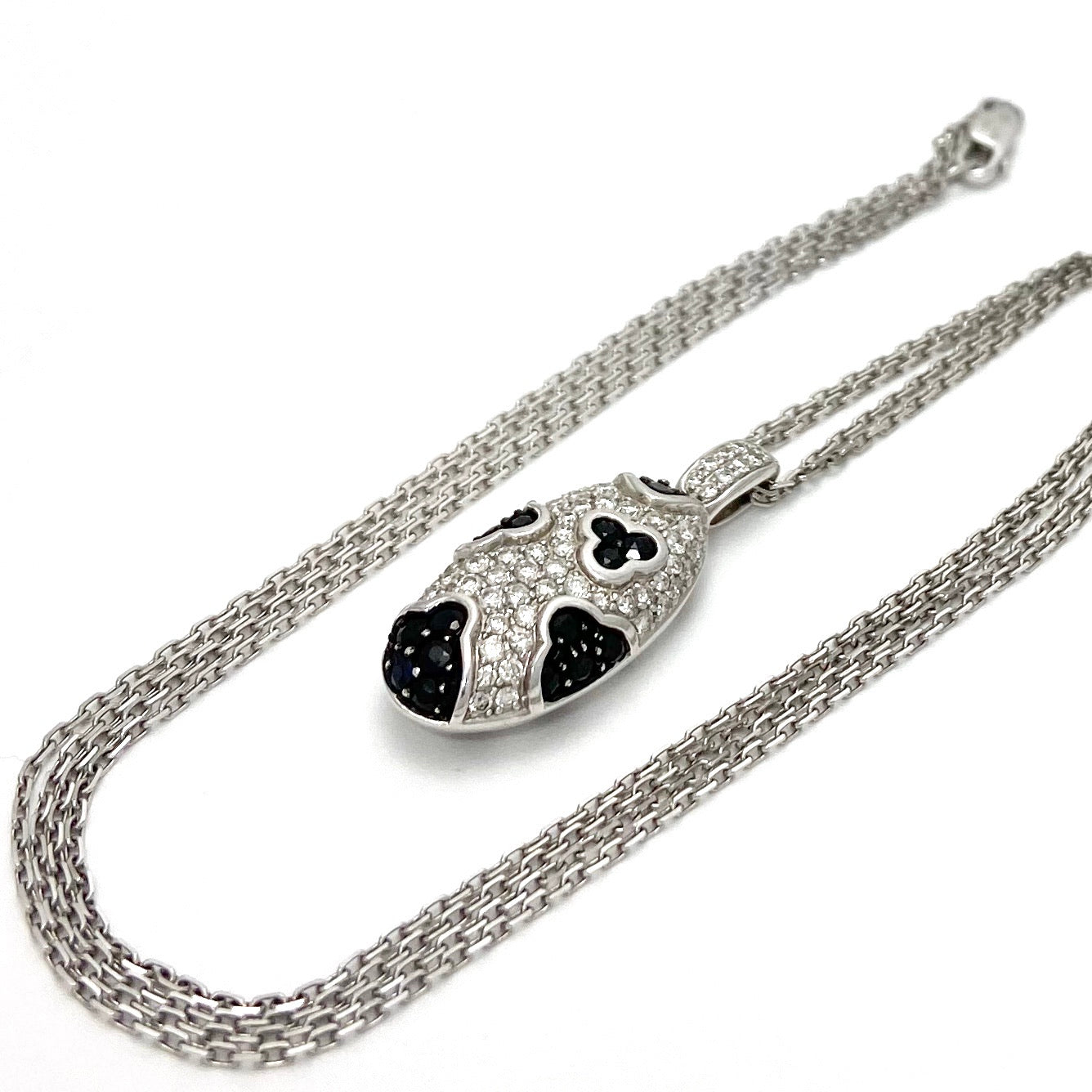 18K White Gold Diamond and Sapphire Oval Shaped Pendant with 18K Chain