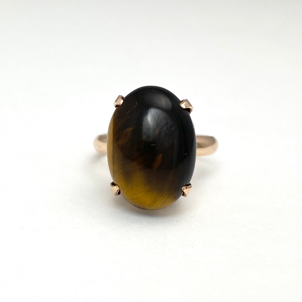 14K Yellow Gold Oval Shaped Tiger's Eye