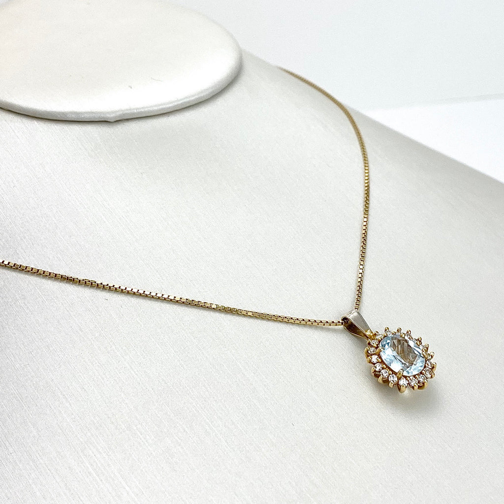 14K Yellow Gold with Oval Cut Aquamarine and Diamond Necklace