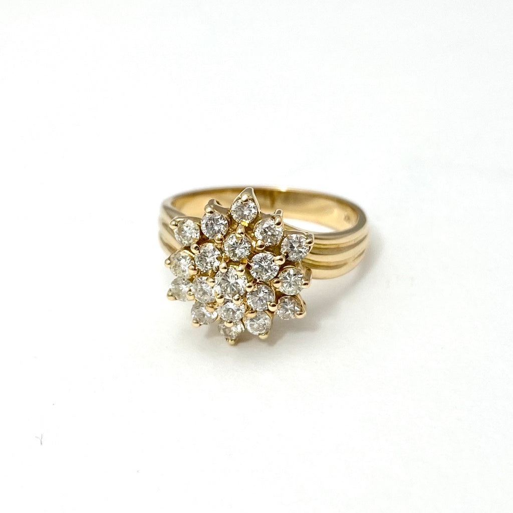 14K Yellow Gold Diamond Cocktail Ring in a Cluster Flower Design