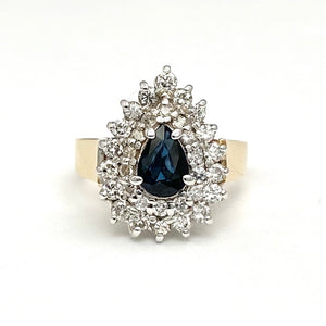 14K White and Yellow Gold Pear Shaped Blue Sapphire and Diamond Ring