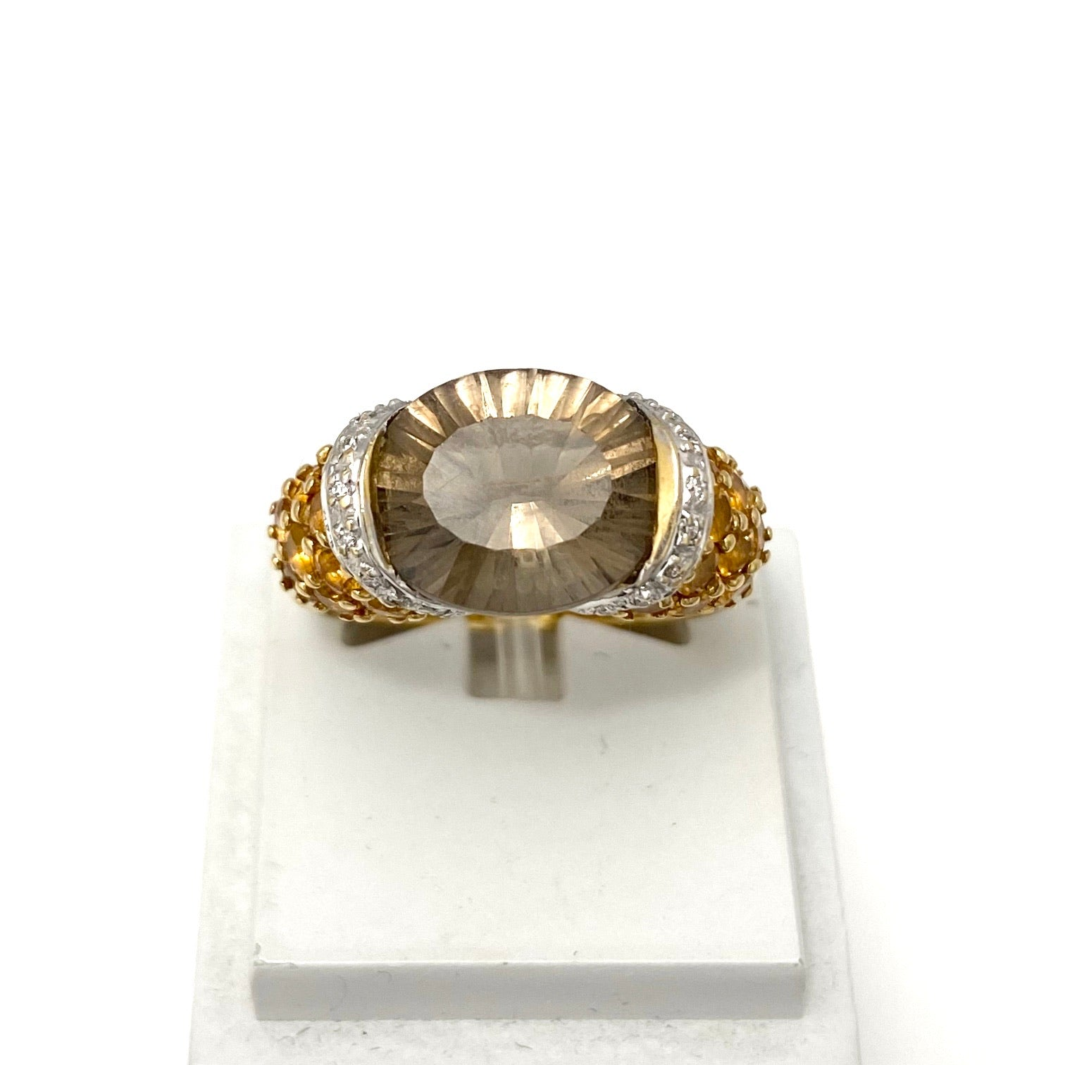 18K Yellow Gold Smoky Quartz and Citrine Ring