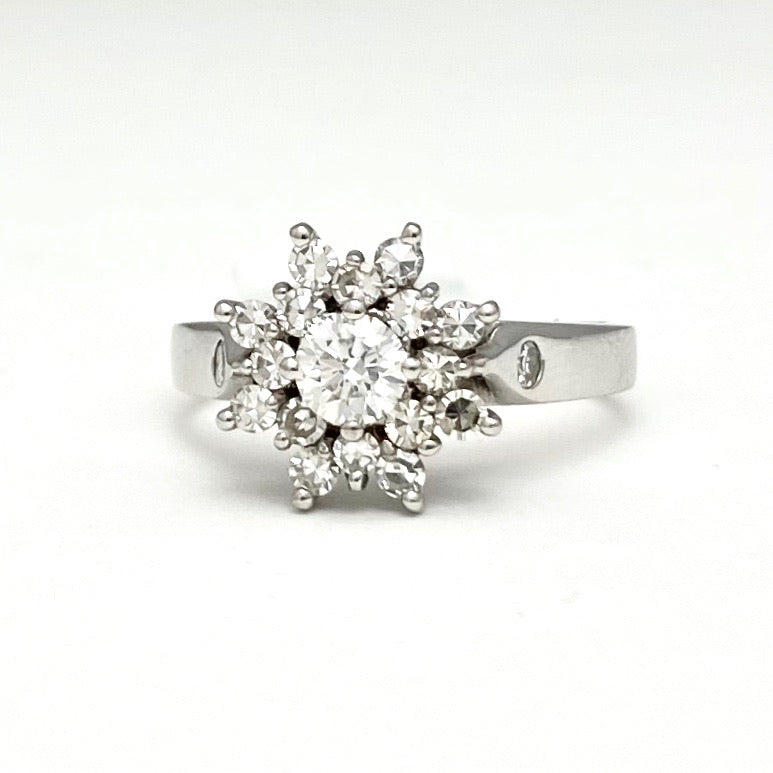 14K White Gold Custom Made Diamond Cluster Ring