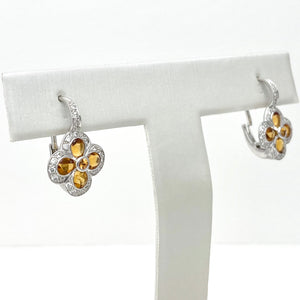 18K White Gold Citrine and Sapphire Earrings with Diamonds