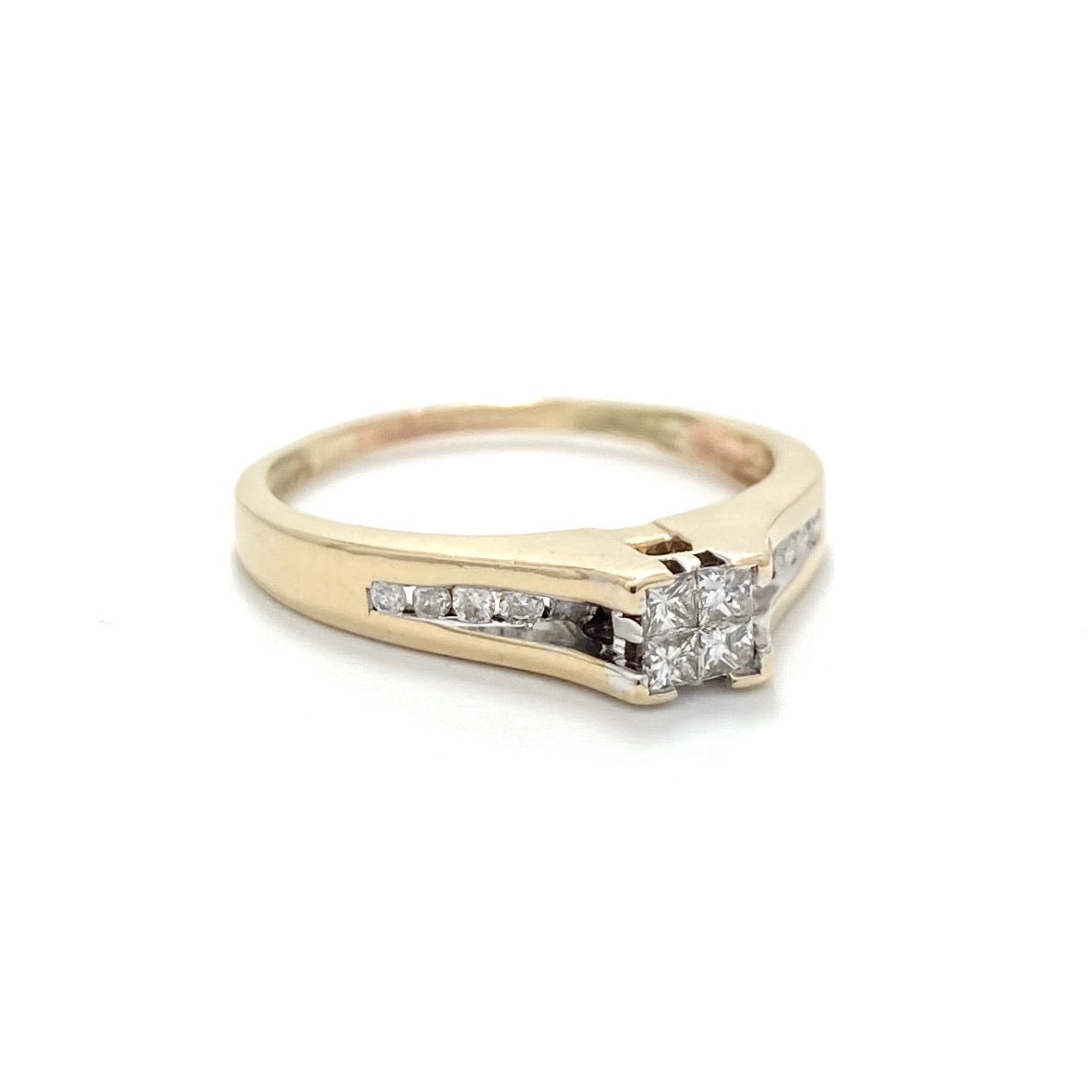 10K Yellow Gold Channel Set Diamond Engagement Ring