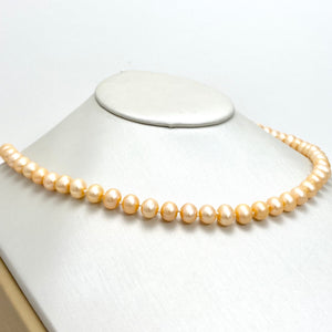 14K Gold Necklace with Cream Orange Cultured Pearls