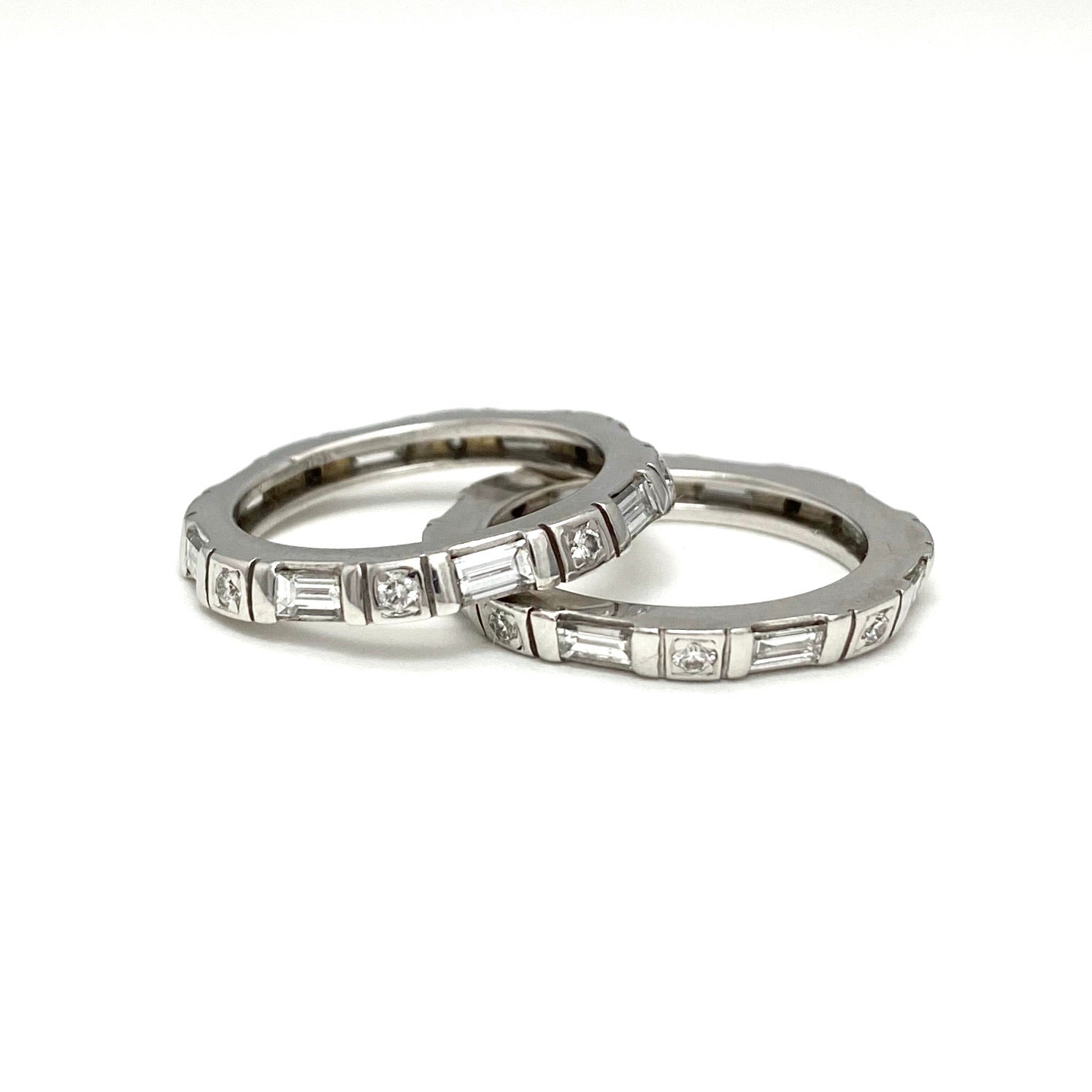 18K White Gold Set of Diamond Eternity Rings or Wedding Bands