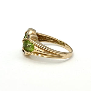 10K Yellow Gold Contemporary Peridot Diamond Ring